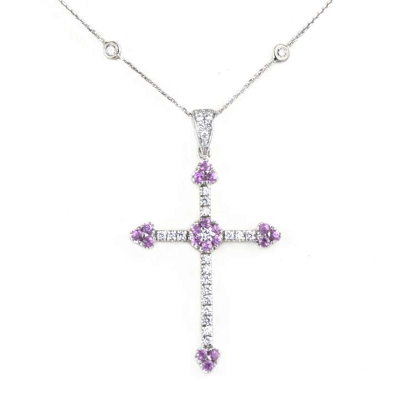 18k White Gold Diamond and Pink Sapphire Cross Pendant 1.50ct
